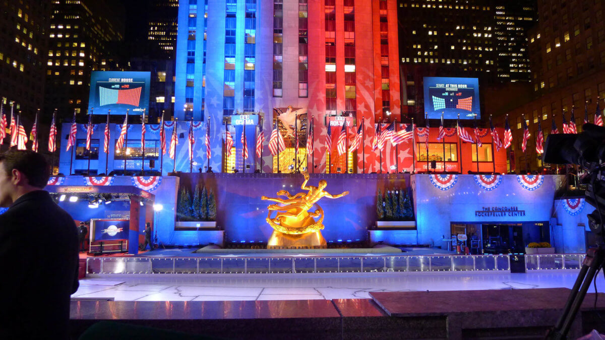 Rockefeller Plaza transformed into Democracy Plaza